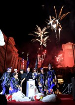 LAS VEGAS, NV - JULY 03: Caesars Palace President Gary Selesner,daredevil, stuntman Robbie Knievel, TSA Color Guards and members of the Red Bull Skydive Team at Caesars Palace during the resort's 50th anniversary celebration on July 3, 2016 in Las Vegas, Nevada. (Photo by Denise Truscello/Getty Images for Caesars Entertainment ) *** Local Caption *** Gary Selesner